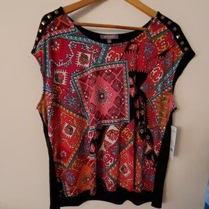 NY Collection Multi Color Blouse 2X NWT
